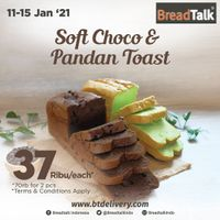 Breadtalk Promo Soft Choco & Pandan Toast Only For Rp. 37.000/each