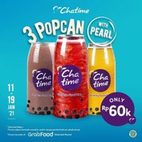 Chatime Promo 3 Popcan With Pearl Only For Rp 60.000