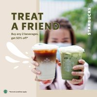 Starbucks Treat A Friend - Buy 2 Any Beverages Get 50% Off