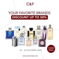 C&F Perfumery Discount Up To 50% On Favorite Brands Parfumes