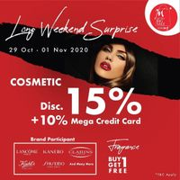 Metro Department Store Promo Cosmetics Discount 15% + 10% With Mega Credit Card