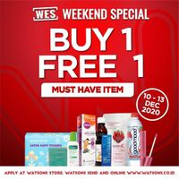Watsons Promo Weekend Special Deals - Buy 1 Get 1 Free On Selected Items
