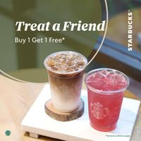Starbucks Treat A Friend Buy 1 Get 1 Free Beverages With Line Coupon