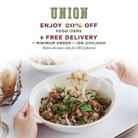 Union Promo Discount 20% Off Of Food Items + Free Delivery