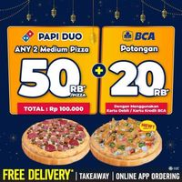 Domino's Pizza Discount 50% Off + Discount Rp. 20.000 With BCA Debit/Credit Card