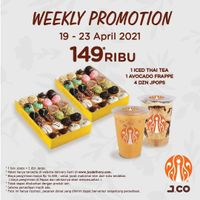 JCO Weekly Promotion 2 Beverages + 4 Dzn JPops Hanya Rp. 149.000