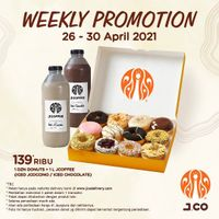 JCO Weekly Promotion 1 Dzn Donuts + 1 JCoffee Only For Rp. 139.000