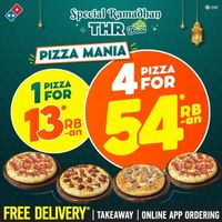 Domino's Pizza Promo Special Ramadhan THR Deal 4 Pizza For Rp. 54 Ribuan