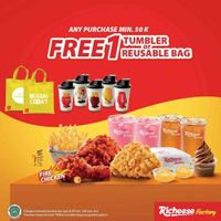 Richeese Factory Any Purchase Rp. 50.000 Get Free Tumbler/Reusable Bag