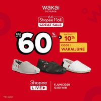Promo Wakai 6.6 Shopee Mall Great Sale Get Discount Up To 60% Off + 10% Off