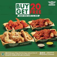Promo Wingstop Beli 20 Pcs Crunchy Wings Gratis 20 Pcs Boneless Wings