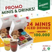 Promo Krispy Kreme 24 Minis + 2 Iced Drinks Only For Rp. 100.000