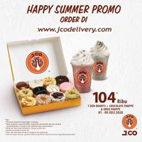 JCO Happy Summer Promo 1 Lusin Donuts + Chocolate Frappe & Oreo Frappe Rp 104.000