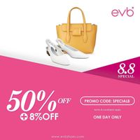 Promo EVB Special 8.8 Get Discount 50% Off + Extra 8% Off For Online Shopping