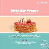 Clairmont Patisserie Birthday Promo Discount 20% Off